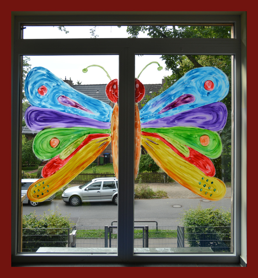 Fensterbild Schmetterling der Kita Flurspatz in Lurup